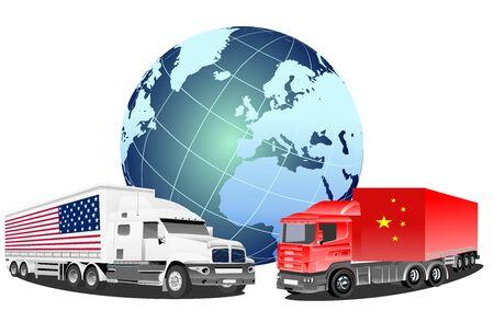 wojna handlowa między Ameryką a Chinami, symbole ciężarówek 2 krajów, globalna wymiana międzynarodowa