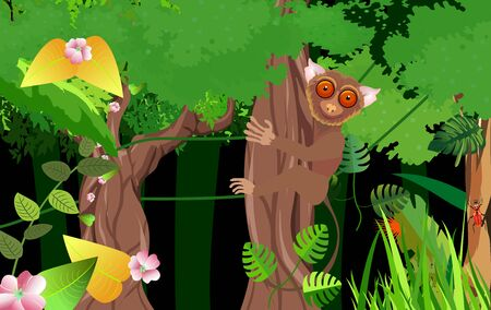 Night jungle background, tarsier sitting on the tree trunk  in the jungle, vector, wildlife scene Ilustracja