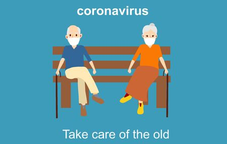 Old couple sitting on the bench, coronavirus pandemic situation concept Vettoriali