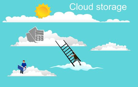 Clouds storage keeping it technology consept vector, people works in clouds.