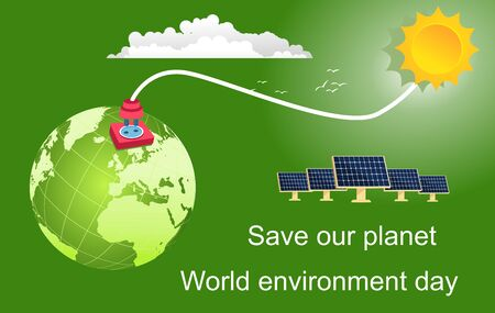 Eco friendly concept. Green globe earth. Vector illustration. Earth day concept. Energy efficiency and alternative energy. Save the earth. Happy Earth Day Poster or Banner Background.