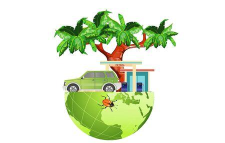Eco car, globe, eco refueling, green energy compositon