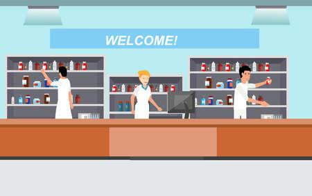pharmacy with pharmacists. medicine cartoon character dragstore vector illustration