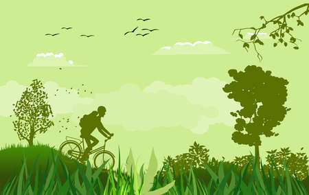 Green Vector landscape with silhouettes of cyclist, trees, adventure time theme.