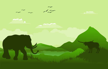 Green Vector landscape with silhouettes of mountains, elephant, buffalo, african landscape.