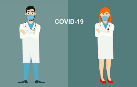 Coronavirus . two doctors characters in blue medical face mask. Man and woman doctor characters, vector