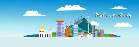 Panorama view of Kazakh cityl Almaty in flat style vector illustration for travel poster, postcard and more Illusztráció