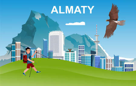 view of Kazakh cityl Almaty in flat style vector illustration for travel poster, postcard and more