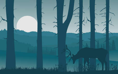 Vector nature landscape with blue misty silhouettes of forests and hills, deer Illusztráció