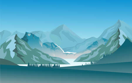 Vector nature landscape with blue misty silhouettes of mountains and hills