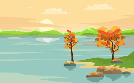 Sun rise on the lake, clouds and trees reflected on the water, nature wild vector illustration