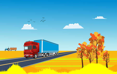 Truck drives on the highway, in gold countryside landscape, autumn season landscape vector