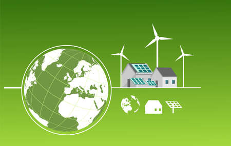 Global environment protection and alternative energy concept illustration, vector. Globe and  energy efficiency.