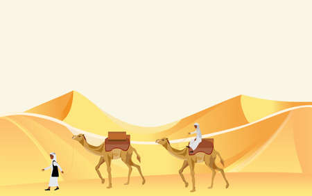 Caravan of nomad arabians on camels walking among sand barhans  in desert vector.