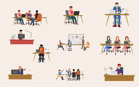 Set of scenes at office. men and women taking part in business meeting, discution, working at laptop, talking to each other.  flat vector illustration. Illusztráció