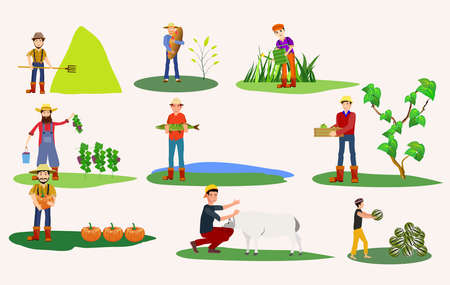 Set of farmer people working, planting, gathering harvest, collecting water melons,   carrying fruits, milking cow, working on tractor. Flat  vector illustration. Illusztráció