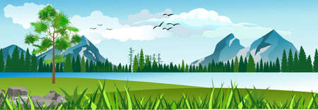 Scene with  beautiful lake, and forest with moutains, panoramic vector illustration