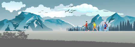 Scene with tourists walks in the wild nature and forest with moutains, panoramic vector illustration