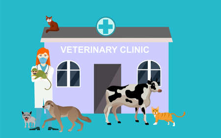Veterinarian and his patients animals veterinary clinic Illustration