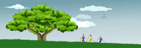 Big wide old green tree on the green hills, group of tourists walks toawrds tree, vector illustration Illusztráció