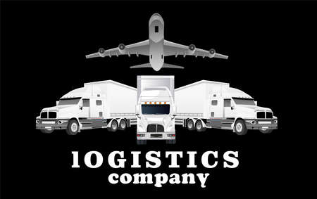 Logistic transportation company illustration on black background, three truck and plane jet above them, vector template Illustration
