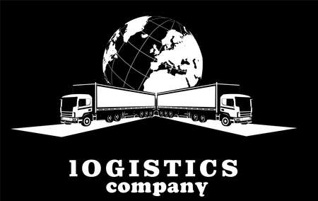 Logistic transportation company logo on black background, three truck and plane jet above them, monochrome vector template Illustration