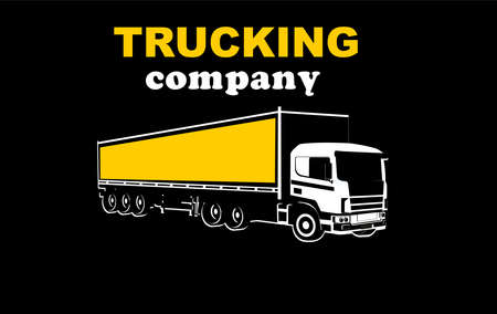 Logistic transportation trucking company logo on black background, three truck and plane jet above them, monochrome vector template