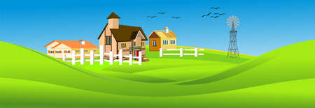 Vector illustration of countryside landscape little houses near lake, autumn, vector