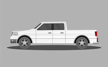 Pick up car from side view, isolated vector illustration