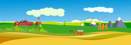 Banner size illustration of countryside landscape, village, autumn, vector.