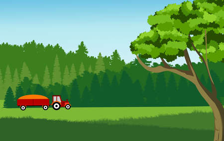 Vector illustration of countryside landscape, tractor in forests and mountains, vector. Illusztráció
