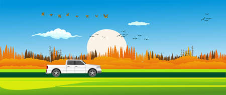 Banner size illustration of countryside landscape car on the road, autumn, vector.