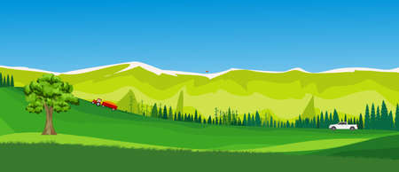 Banner size illustration of countryside landscape ,forests and mountains, vector. Illusztráció