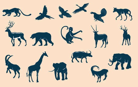 Animals silhouettes set, isolated on white vector illustration
