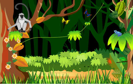Jungle background, monkey on three branch, exotic nature, vector illustration Illustration