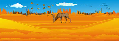 Natural landscape, deer under tree on the yellow autumn hills, vector illustration