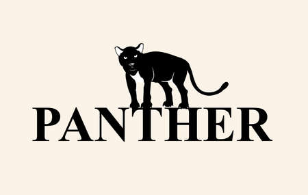 Panther stands on word panther, isolated on white vector