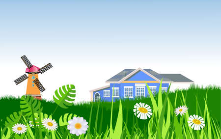 Countryside landscape, house and mill on the green hills vector illustration