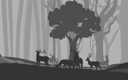 Natural landscape, deers silhouettes under tree on hills, forests, vector illustration