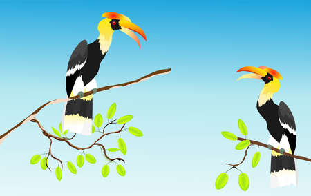 horned ravens sits on tree branch, blue background vector