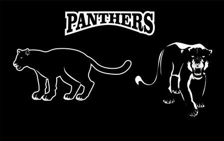 Panthers logo illustration, isolated on black black background vector