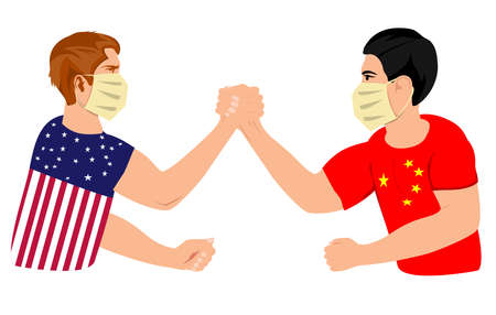 Armrestling between two men, in american and china flags colored suits, global competition between two countries vector