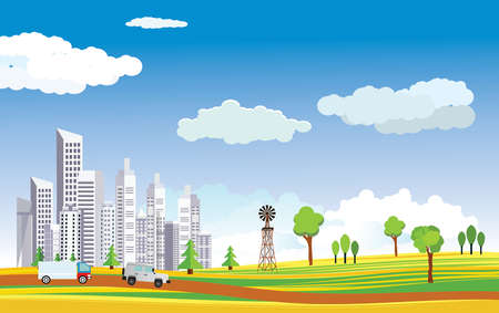 City view, house and mills in green hills, nature, vector Vetores