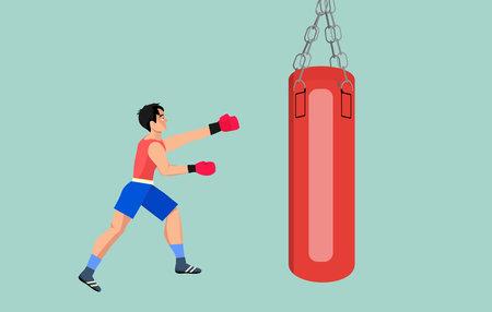 Boxer hits the pear, flat vector illustration Ilustración de vector