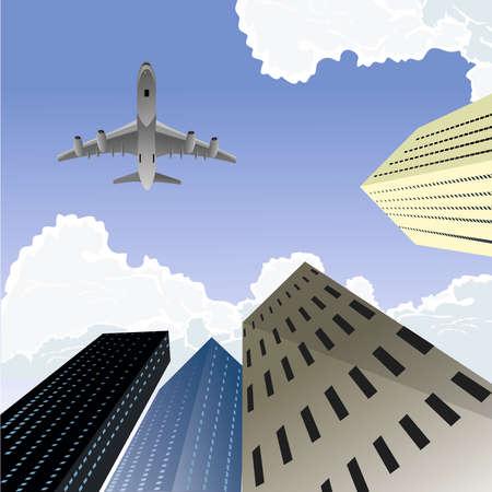 Buildings from below view, plane above, clouds, vector illustration Vecteurs