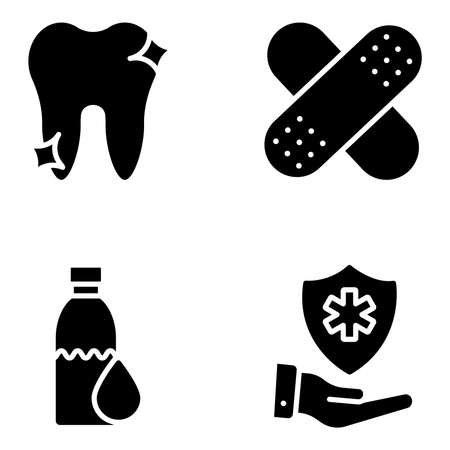 Pack of Medical and Protection Solid Icons Vektorové ilustrace