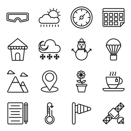 Pack of Weather Overcast Linear Icons