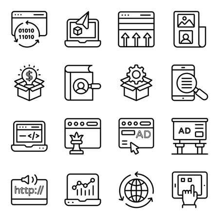 Pack of Seo and Web Technology Linear Icons