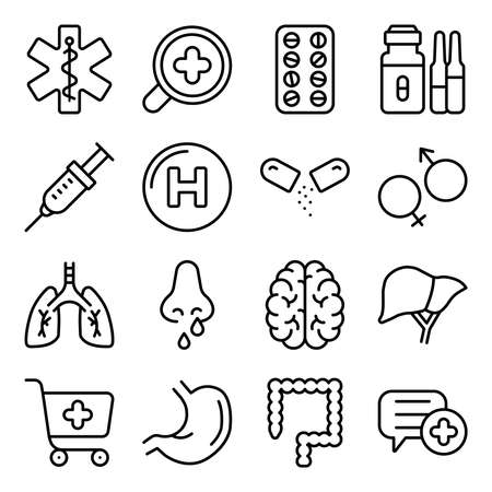 Pack of Medical Tools Linear Icons Vecteurs