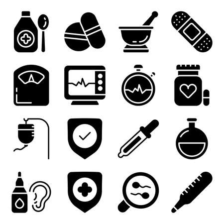 Pack of Healthcare Solid Icons